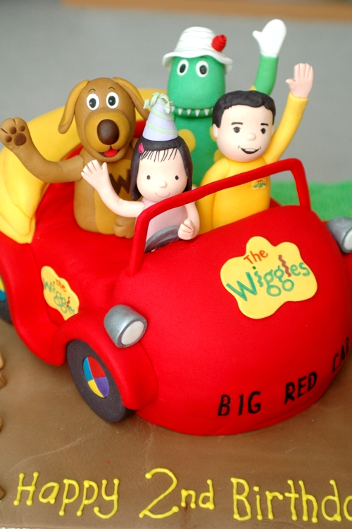 Wiggles Big Red Car cake with Wags, Dorothy, and Sam